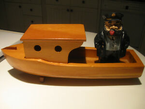 HANDCRAFTED SOLID WOOD HARBOR BOAT and OLD SEA CAPTAIN