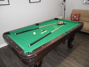 LIKE NEW! POOL TABLE WITH GAME TOP, CUE RACK, ETC..