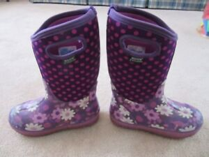 Bogs Kids Flower Dot Waterproof Insulated Rain Boots