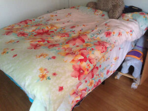 used double size bed+bed cover