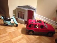 Barbie House + Barbie Car + Barbie Motocycle and many more...