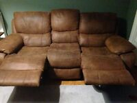3 seater suede recliner sofa