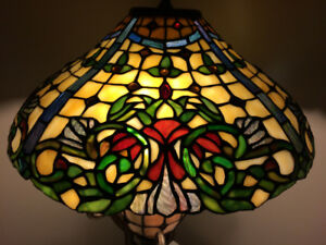 Two Limited Edition Ashley Furniture Stained Glass Table Lamps