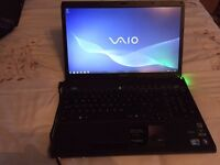 "Sony vaio laptop, 17"" widescreen, intel core i7, 8gb RAM, 500gb hdd, full 1080p HD, blueray, HDMI"