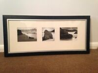 Black & White Beach Scene Pictures Mounted With Black Wooden Frame