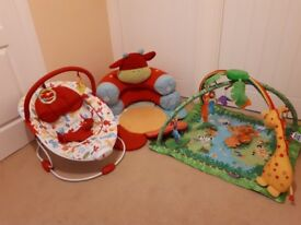 Sit Me Up Cow, Baby Bouncer and Play Mat bundle.