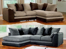BRAND NEW DYLAN CHENILLE FABRIC CORNER SOFA - 2 COLOURS AVAILABLE