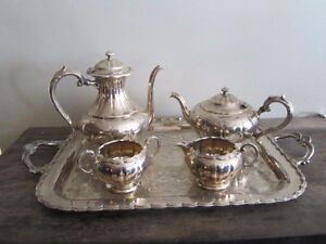 Silver Plated Coffee & Tea Service with Tray