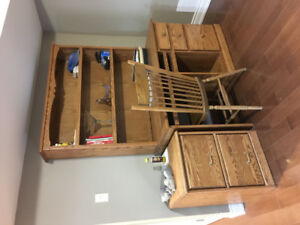 Solid oak desk, chair and file cabinets