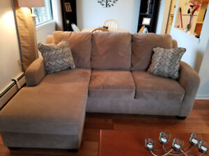 Cream Sectional Couch with Reversable extension