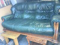 Green leather sofas