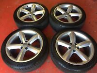"18"" GENUINE AUDI A5 S LINE ALLOY WHEELS TYRES 5x112 A4 B8 5 SPOKE"