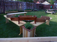 planter boxes and benchen