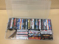 77 DVD/HD Movies with Rolling Clear Long Container.   Please se