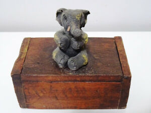 very unique ELEPHANT match box holder  w/ Striker WOOD folk art