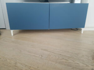 TV Bench - Blue/White- IKEA- 4 Shelves