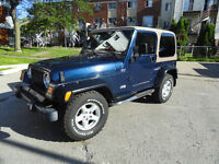 JEEP TJ 2002 4 cylindres 5vitesses Seulement 33,600 KM Certifier