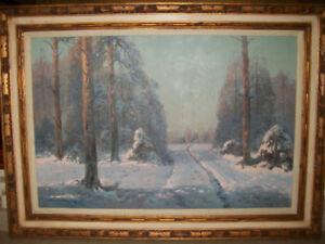 Victor Korecki Painting Winter Scene,Beautiful