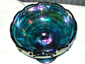 ANTIQUE INDIANA CARNIVAL GLASS CANDY DISH