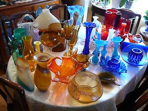 collections variées en verre soufflé style Murano, etc, couleurs