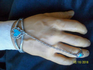 6 pieces Silver and Turquoise Jewellery including Slave Bracelet