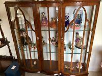 Oak veneered display cabinet