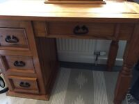 Mexican chunky pine 4-drawer desk FURTHER REDUCED!!