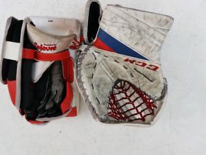 One-year Old CCM Eflex III Pro Senior Goalie Glove and Blocker