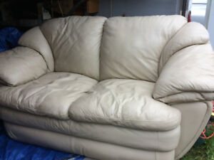 Leather love seat and household and garage items