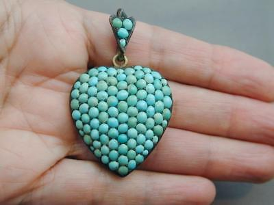 HUGE Victorian Pave Turquoise Cabochon Puffy Heart Lavalier Pendant