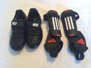 Nike Soccer shoes size 10 & Adidas shins for child $50