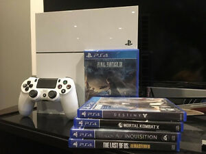 Arctic White PS4 + Unopened Final Fantasy XV + 4 games