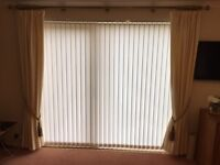 Cream lined curtains. 2 pairs