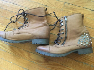 Brown Leather Studded Combat Boots - Size 8.5 (Aldo)