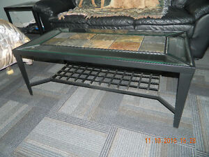 GLASS AND CERAMIC TILE COFFEE AND END TABLES