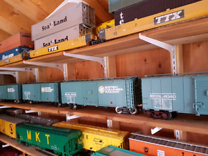G scale model train lot cars and track