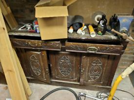 Garage storage antique side table