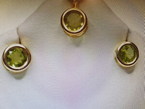 10 kt gold Peridot Pendant and Earring Set Regina Regina Area image 3