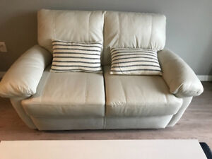 The Brick Angus Leather White Love Seat Sofa Couch