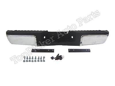 08-12 Ford Super Duty Rear Bumper Chrome Assy Hitch Blk Pad Bracket W/O Sensor