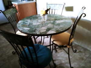 Wrought Iron Metal Kitchen Table and Chairs