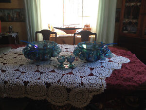 Vintage Blue Carnival Glass 47 piece punch bowls cream and sugar