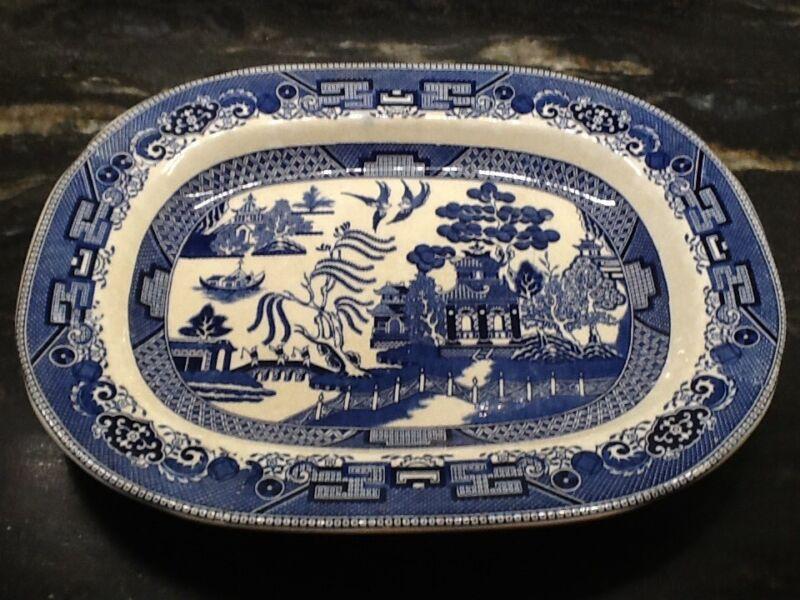 "ANTIQUE 1909 BUFFALO POTTERY Blue Willow 14"" Platter Serving Plate"