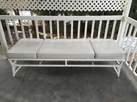 1950s Mid Century Modern MCM WROUGHT IRON BENCH  LOUNGER