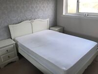 Next Home 'Marielle' Kingsize Bed and 2 x Next Home 'Marielle' Bedside Tables in Cream