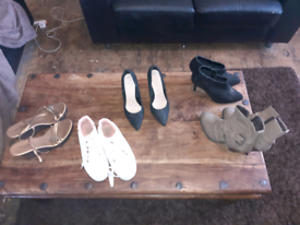 5 pairs of womens shoes trainers and boots