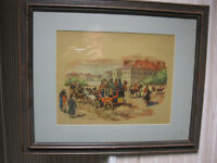 2 ANTIQUE EARLY FRAMED PRINTS OF VICTORIAN LIFE REDUCED TO 30.00