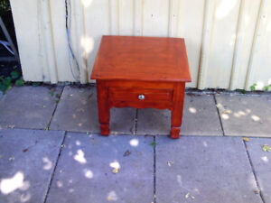 solid Pine end table with drawer- refinished