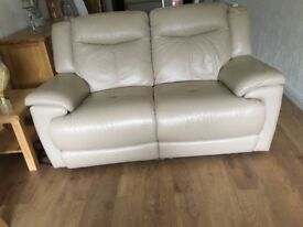 Three seater and two seater reclining leather sofas