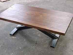 Coffee table rough sawn pine metal base